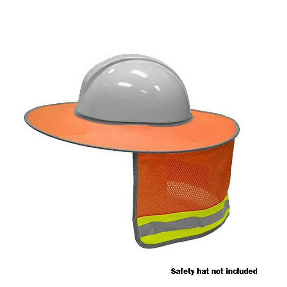 Orange Prevent Bask Cover Helmet Sun Shade Hard Hat Neck Shield Reflective Stripe