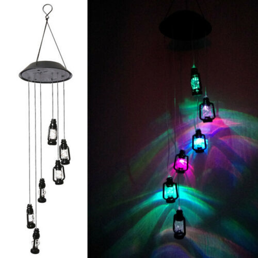 Horse oil lamp Solar Wind Chimes with Six LED Color Changing Lights