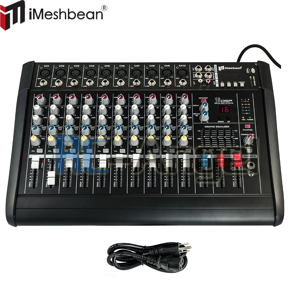 Pro 10 Channel 2000w 48V Powered Mixer Power Mixing Amplifier Amp 16DSP