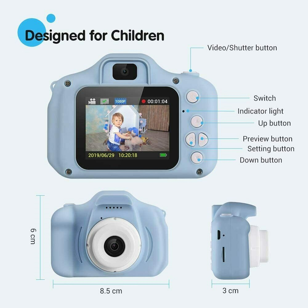 Blue Kids Digital Camera Children LCD HD Rechargeable Video Toddler Educational Toy