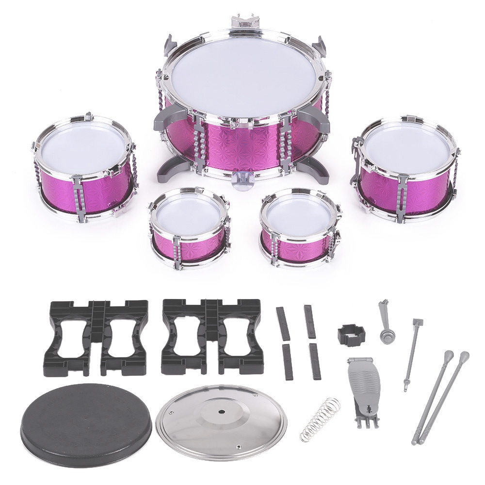 5 Pcs Kids Toys Pink Drum Set with Stool Drumsticks Musical Instrument for Kid Leaning