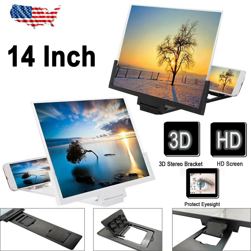 "14"" Smartphone Screen Magnifier 3D Video Mobile Phone Amplifier Stand Bracket US"
