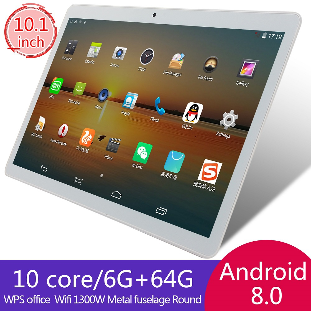 Silver 10.1 Inch HD Game Tablet Android 8.0 Ten Core Tablet PC GPS Wifi Dual Camera