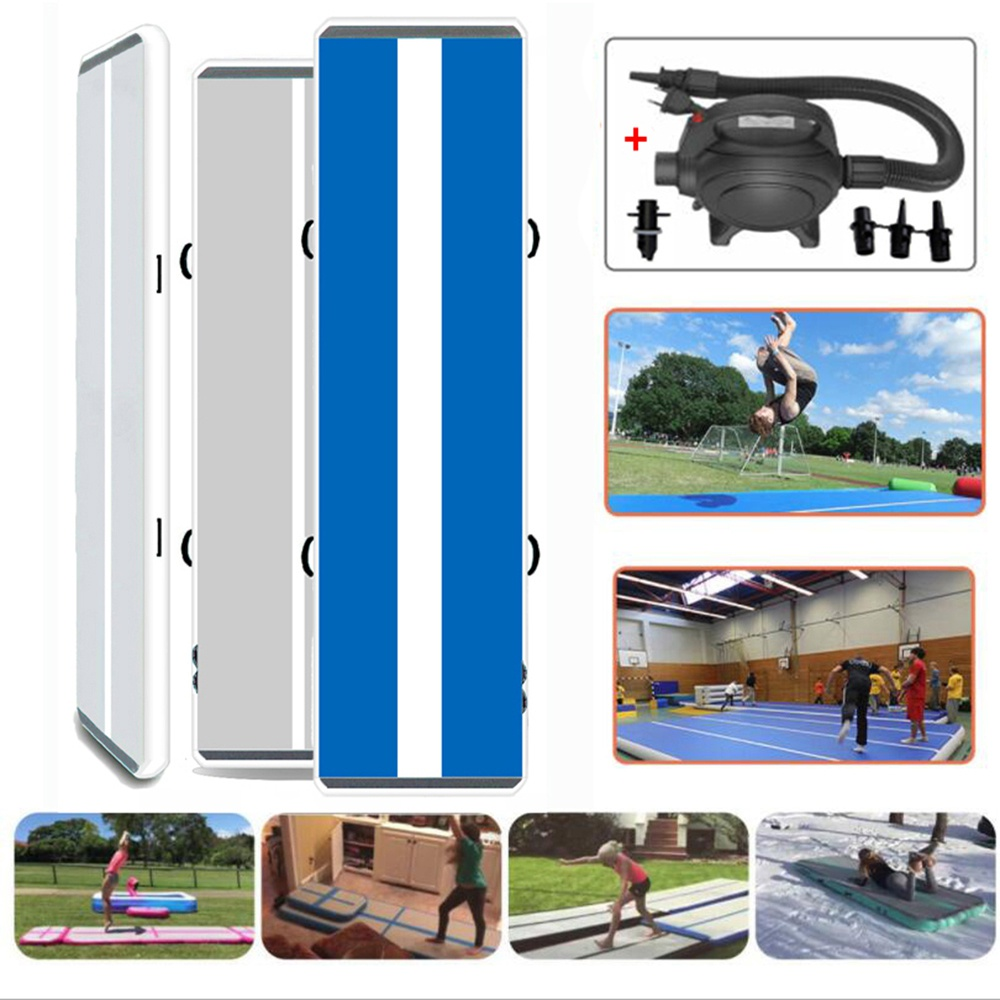 "White and Blue 10ft/ 6"" air tumble track with air pump inflatable gym mat for sport use"