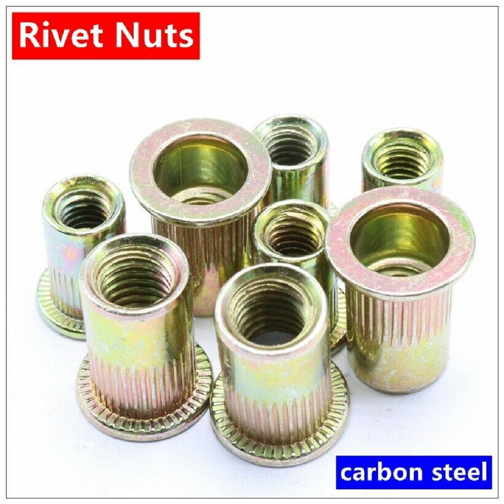120pcs Set Rivet Nut Kit Mixed Zinc Steel Threaded Rivnut Insert Nutsert M4-M10
