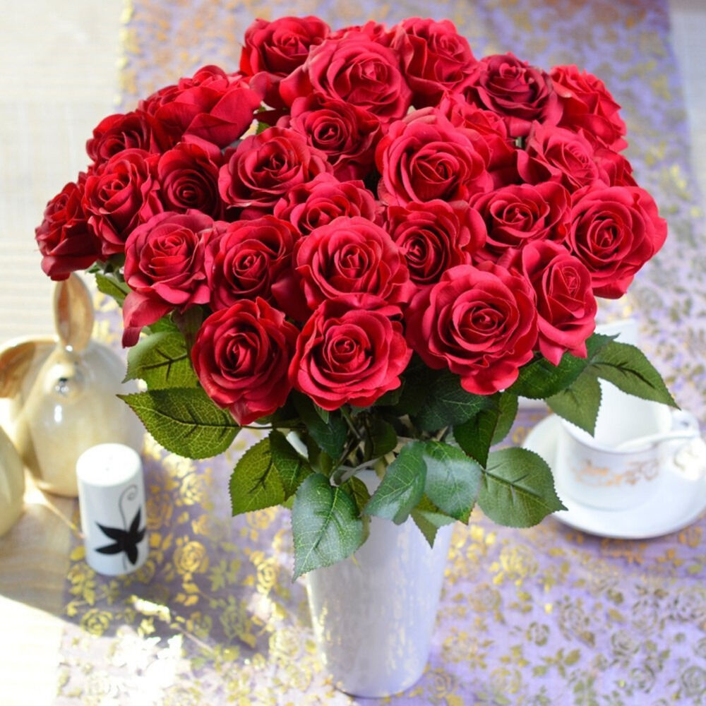 20 Head Red Real Latex Touch Rose Flowers Artificial Flowers for Wedding Home Decoration
