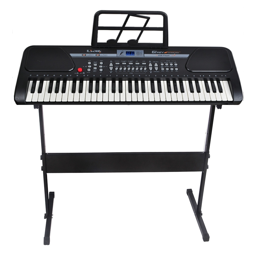 Black 61 Key Music Keyboard Electric Digital Piano Organ with Keyboard stand