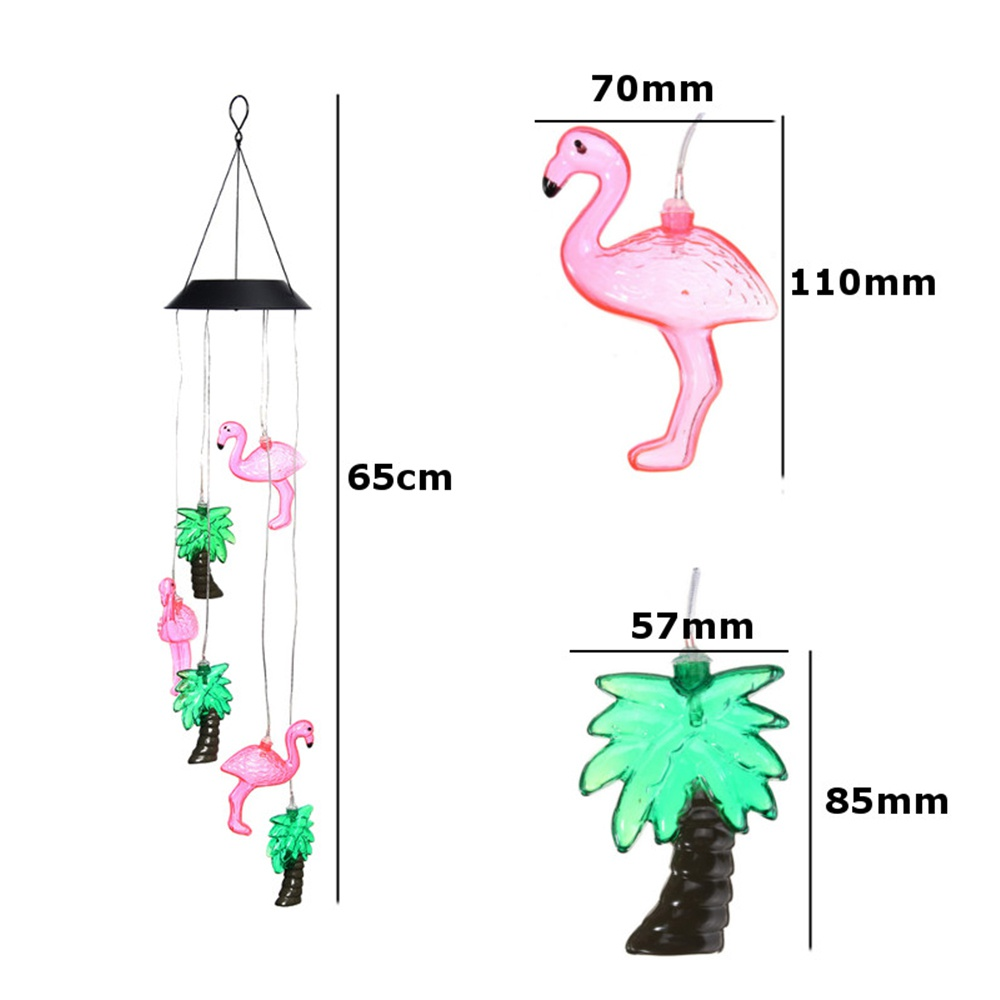 Flamingo Wind Chimes with Color Changing Solar Lights