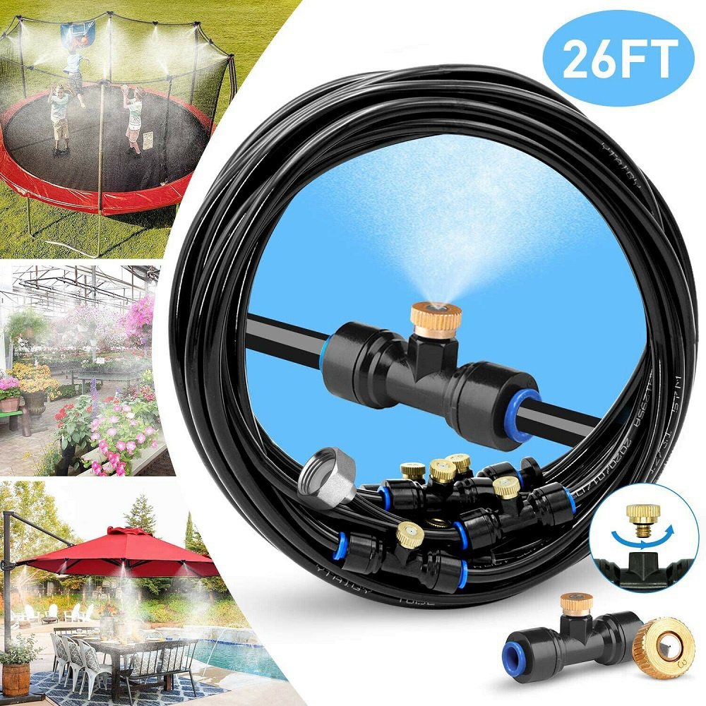 Misting Cooling System Garden Lawn Air Cooler Patio Water Nozzles Sprinkler US