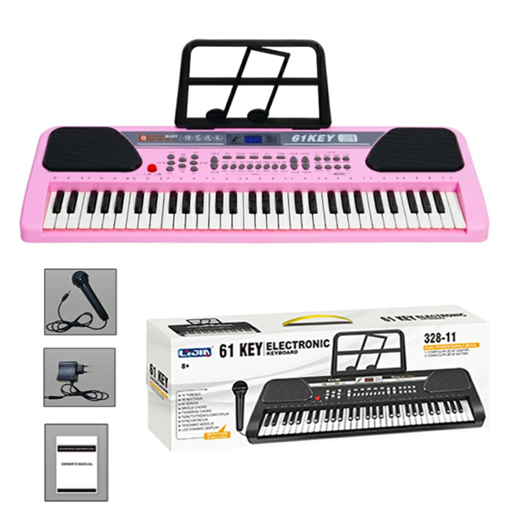 Pink 61 Keys Music Electronic Keyboard Digital Piano Organ for Children Learning