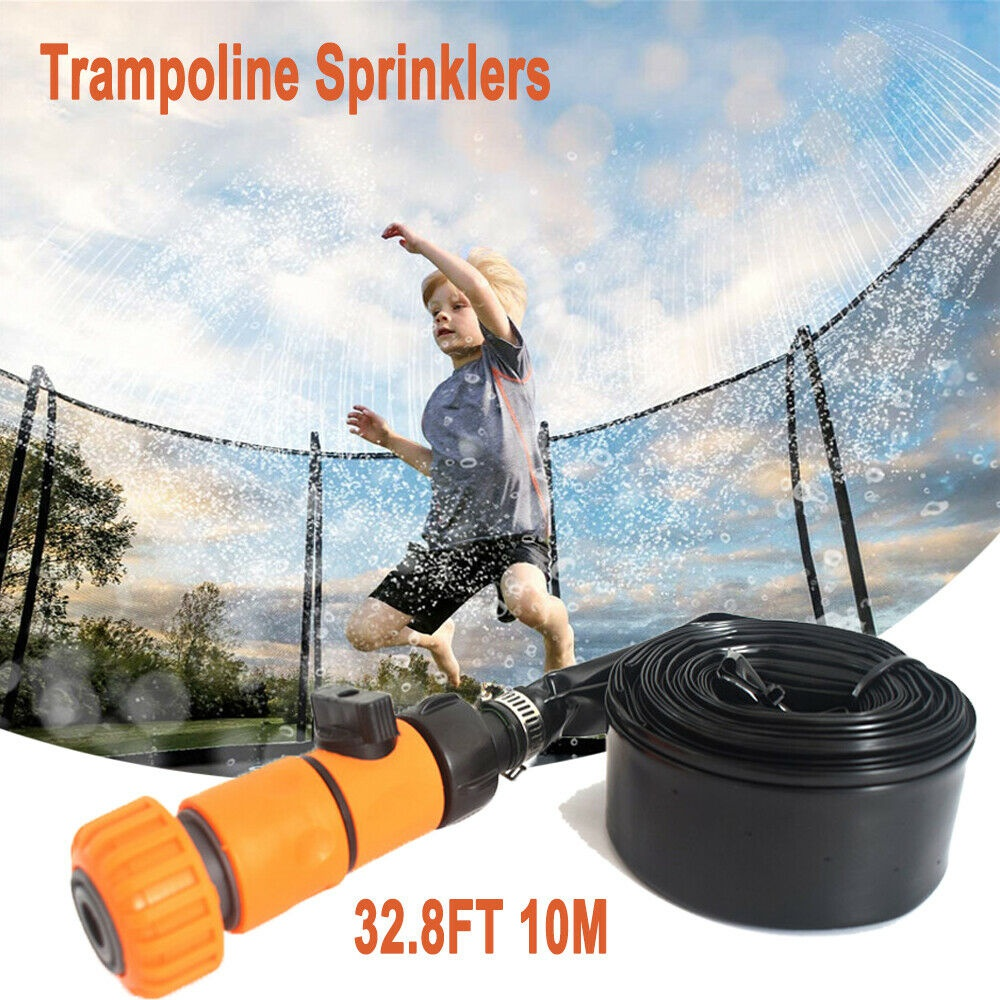 32.8FT Trampoline Sprinkler Water Spray Kids Outdoor Backyard Waterpark Game US