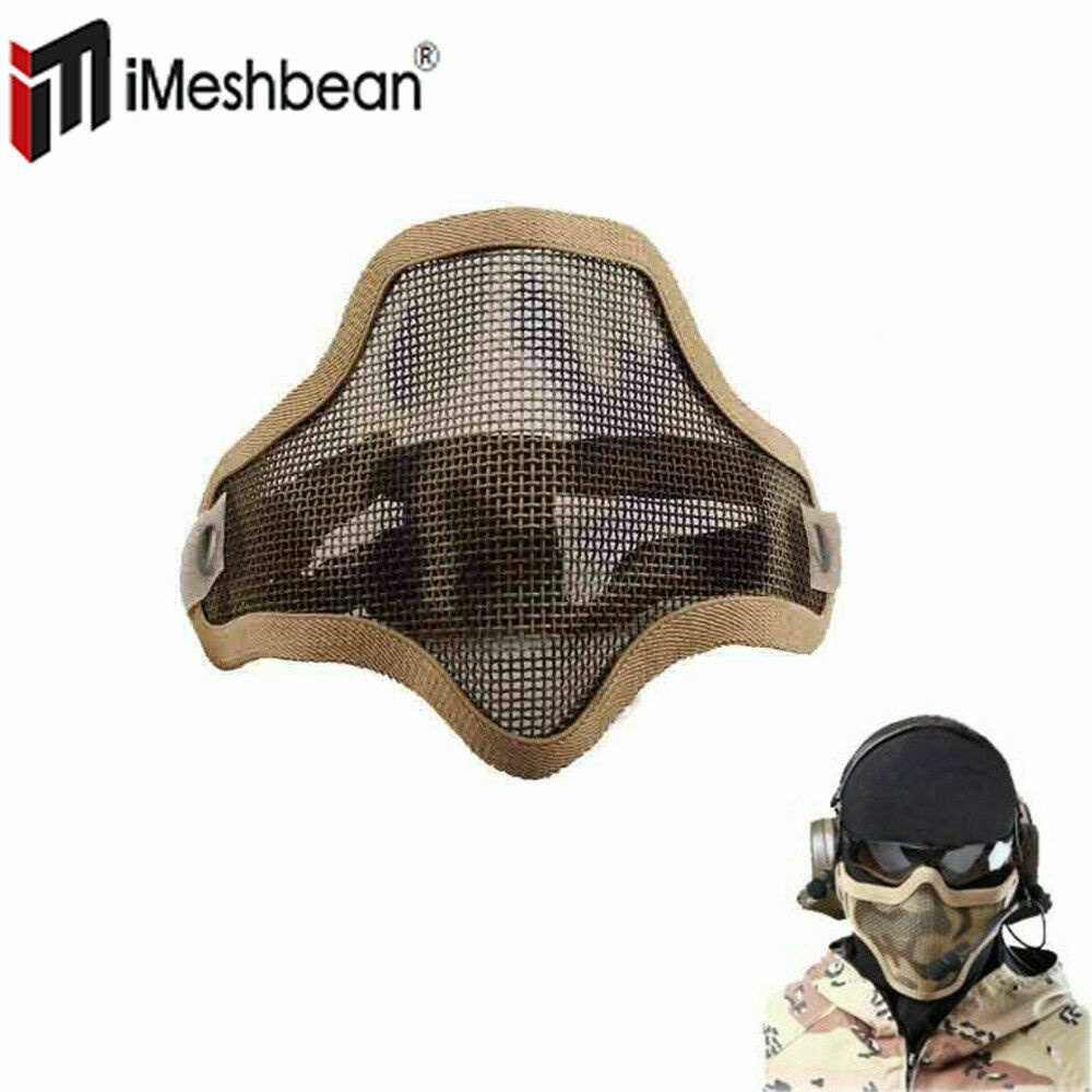 Tactical Airsoft Paintball Military Protective SWAT Helmet +Sparta Mask Sand