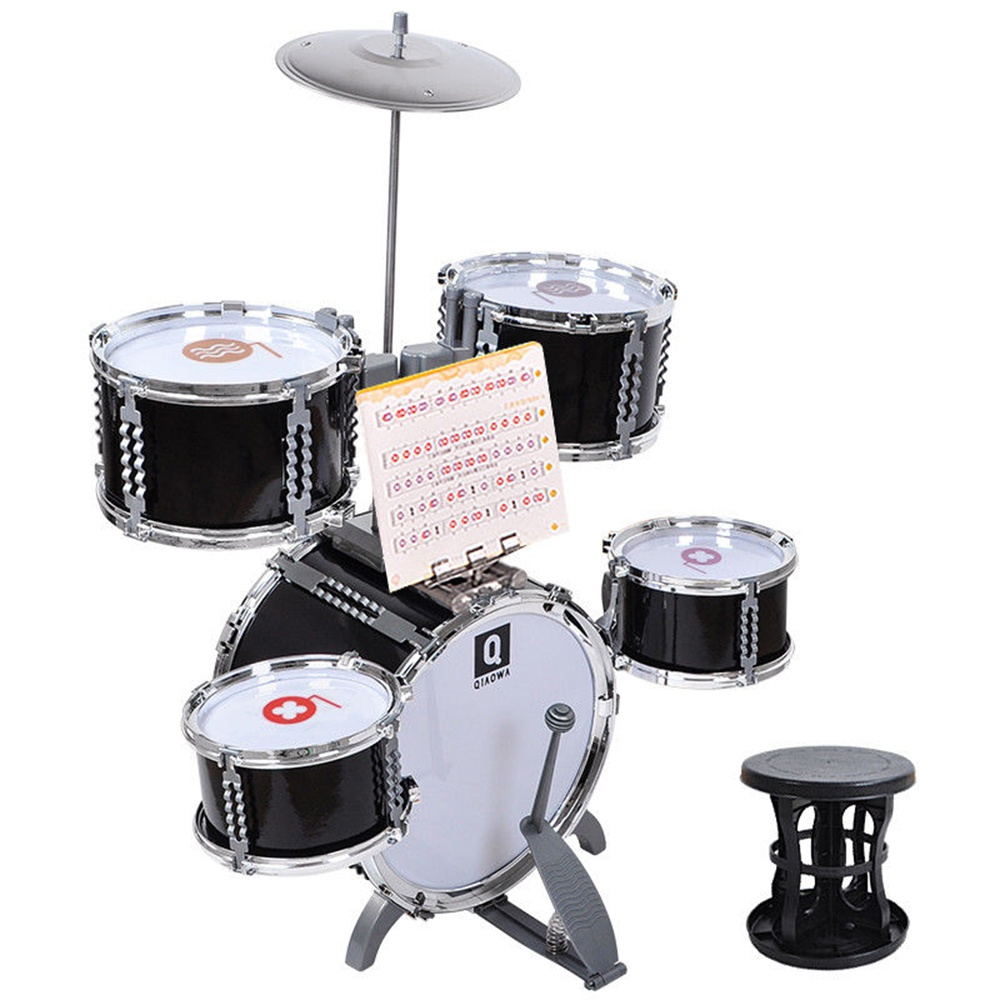 Multi Pcs Kids Childrens Toys Drum Set Musical Instrument W/ Stool Drumsticks