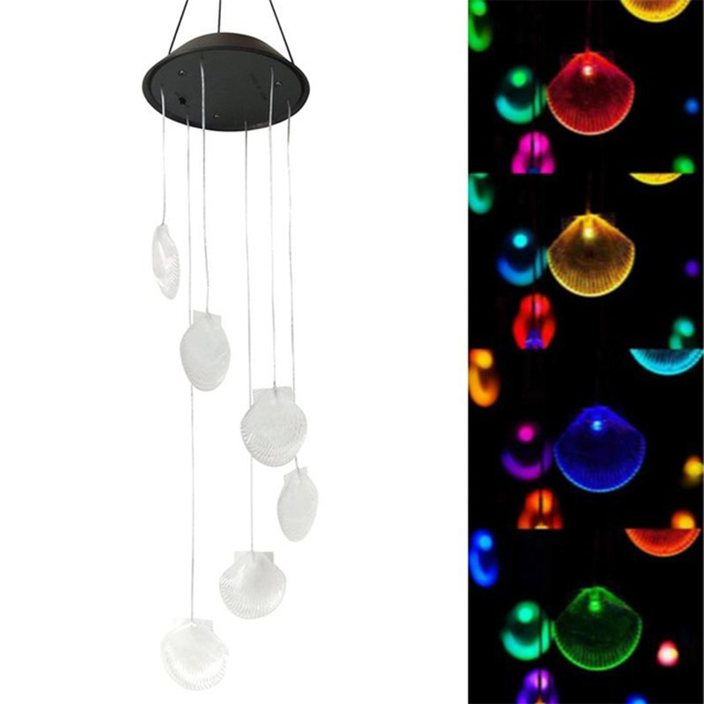 Seashell Solar Wind Chimes with six Waterproof LED Color Changing Lights