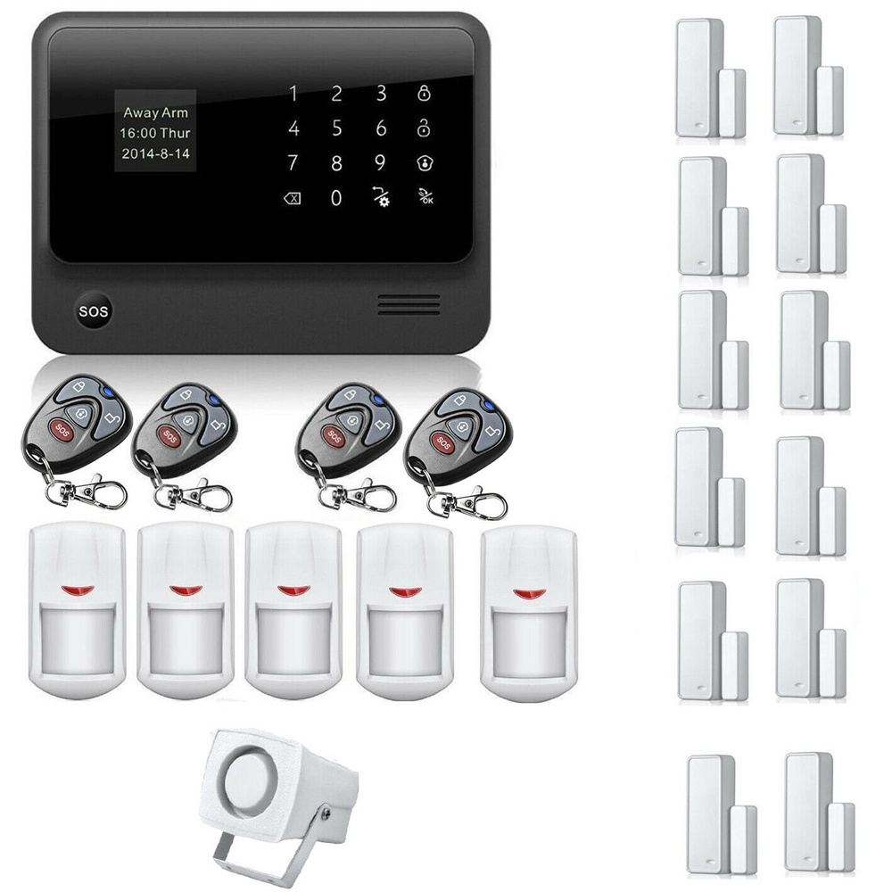 G90B WiFi GSM GPRS Wireless Home Security Alert System IOS Android APP Control( PIR*5+D/W Sensor*12+Key*4)