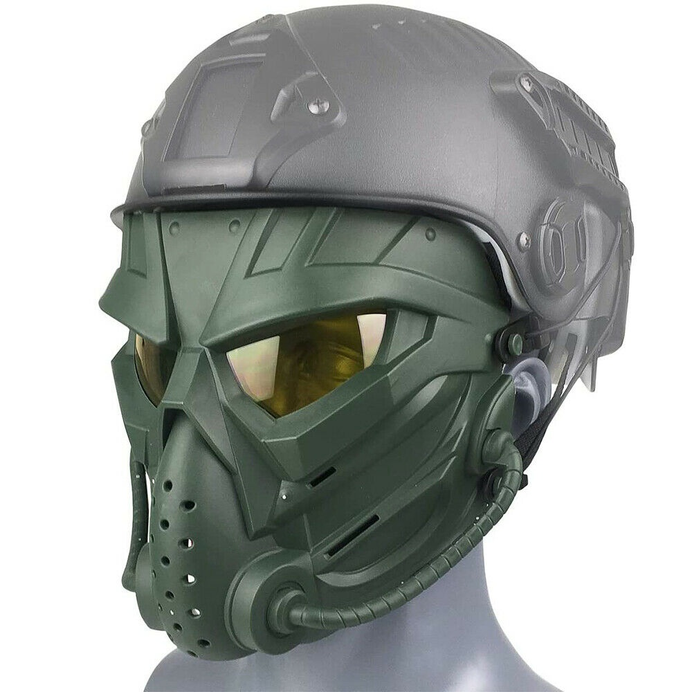 Green Tactical Airsoft Helmet with Full Face Protective Mask kit for Hunting Cosplay