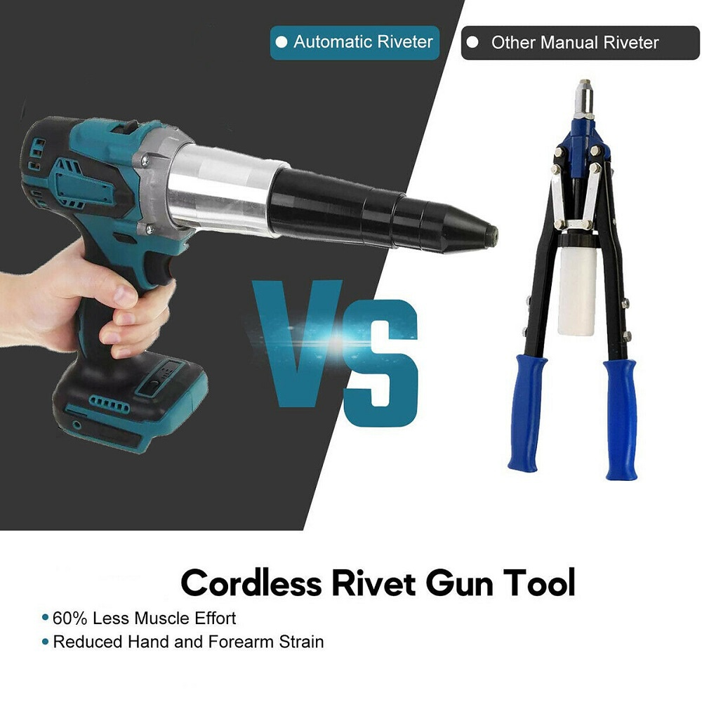 Cordless Ergonomic Rivet Tool Gun Rivnut Setting Tools Nut Setter Blind Riveter